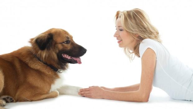 Woman training dog