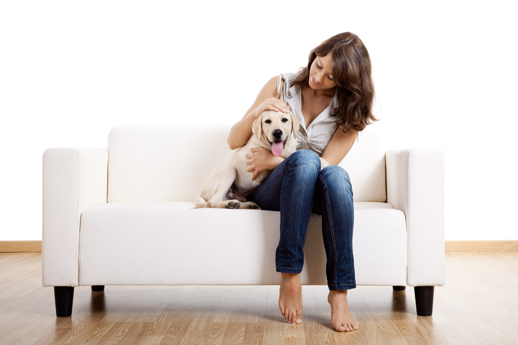 Woman with golden puppy